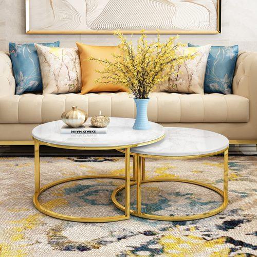 Bàn sofa đôi Inox mặt kính