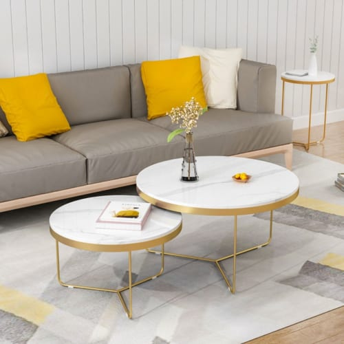 Bàn sofa chân Y inox mạ PVD